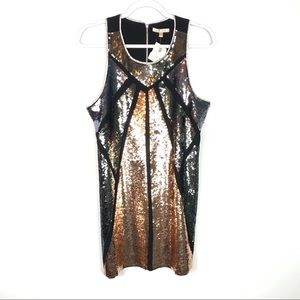 Under Skies NEW Gold Gray Sequin Dress Size Large